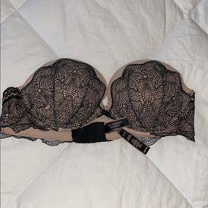 Victoria's Secret Black and Nude Strapless Bra